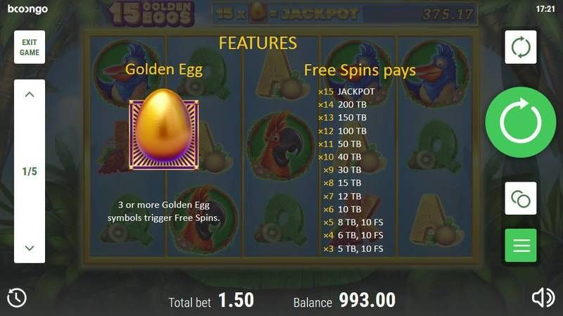15 Golden Eggs slots Free Spins Feature
