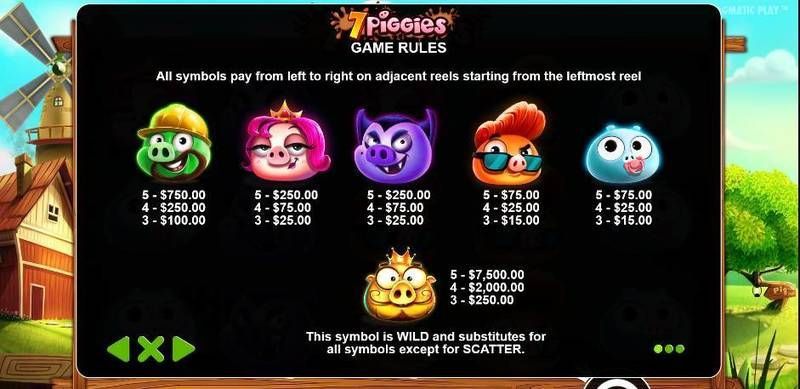 7 Piggies slots Paytable
