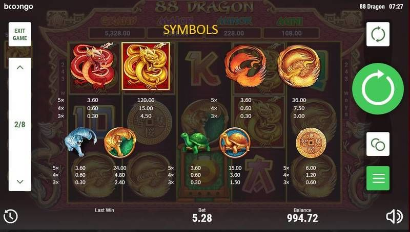 88 Dragon slots Paytable