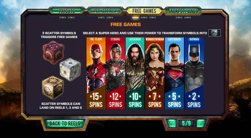 Justice League slots Bonus 1