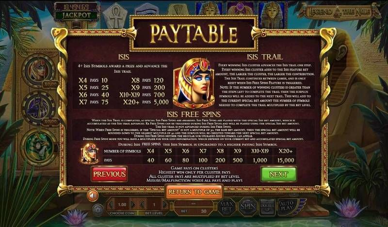 Legend of the Nile slots Bonus 2