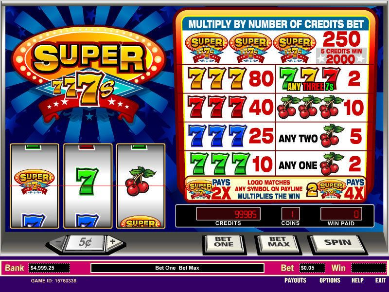 Super sevens slot machine