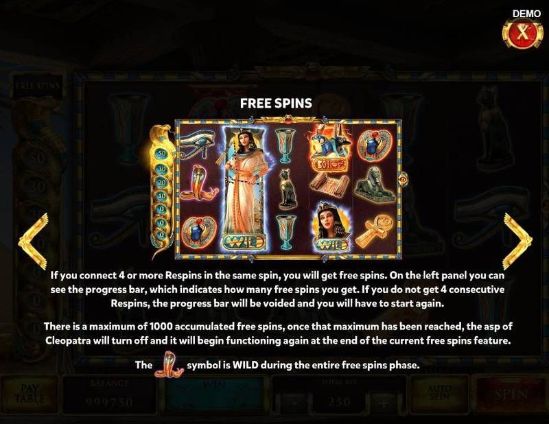 The Asp of Cleopatra slots Bonus 3